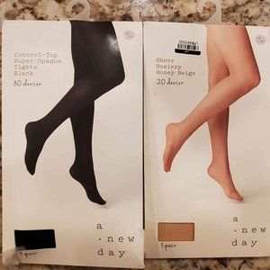 A New Day Beige and Black Tights Hoisery Sz 1X/2X